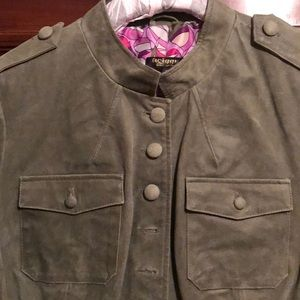 Twiggy London green suede military jacket